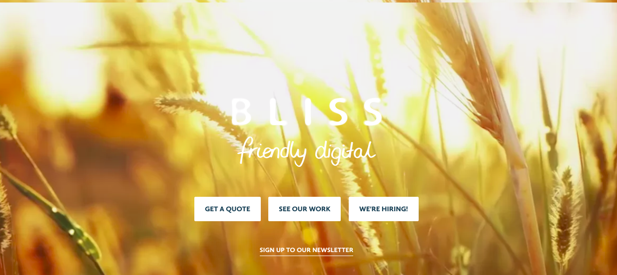creative agency bliss main page