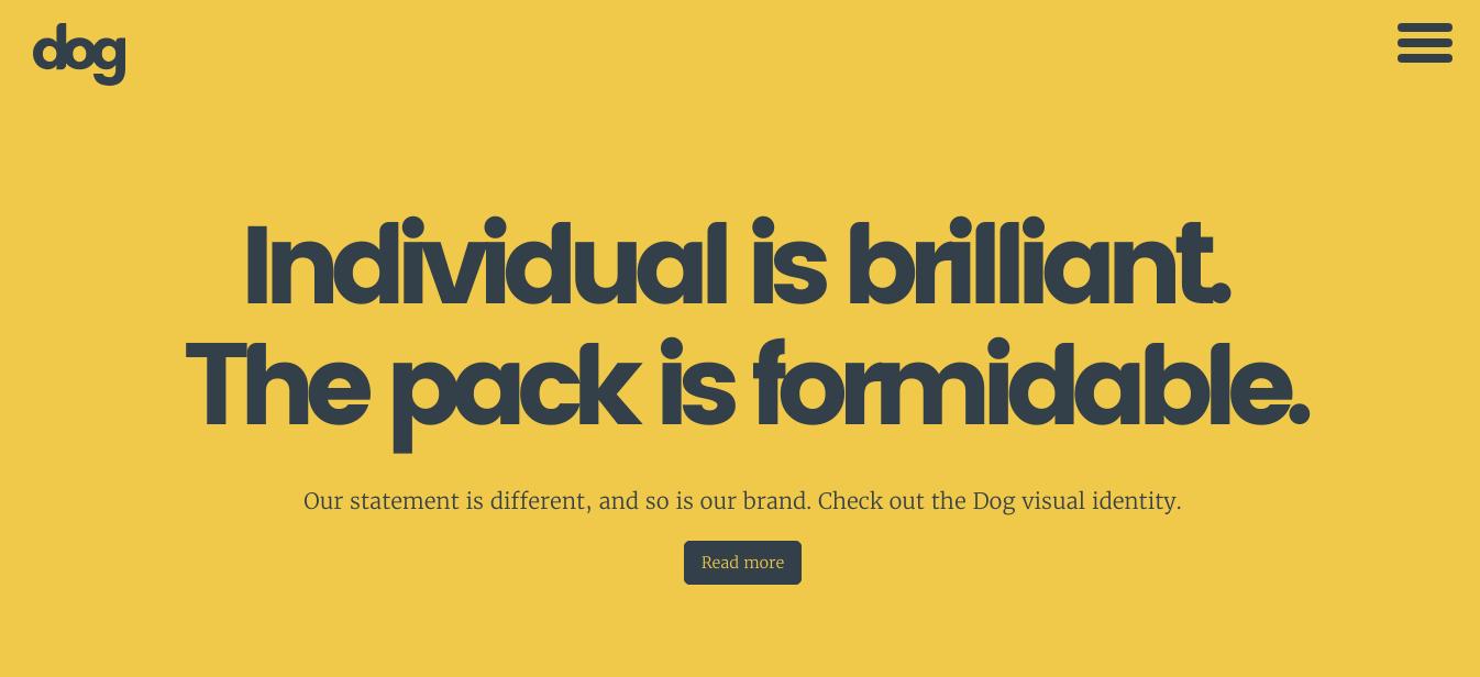 creative agency dog digital main page