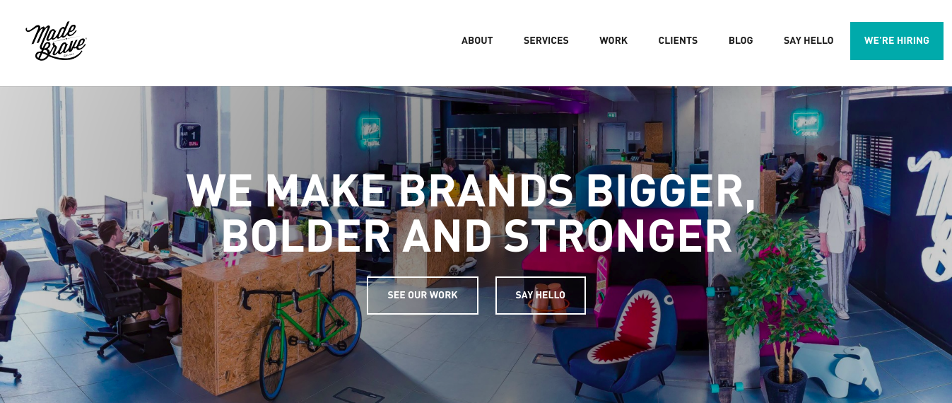 creative agency madebrave main page