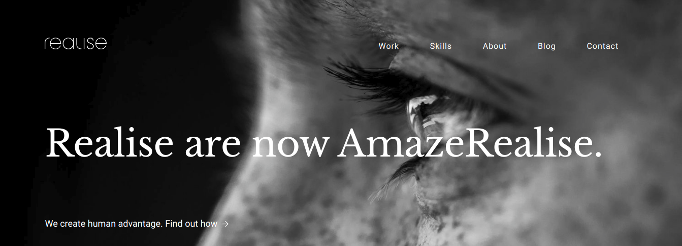 creative agency realise main page